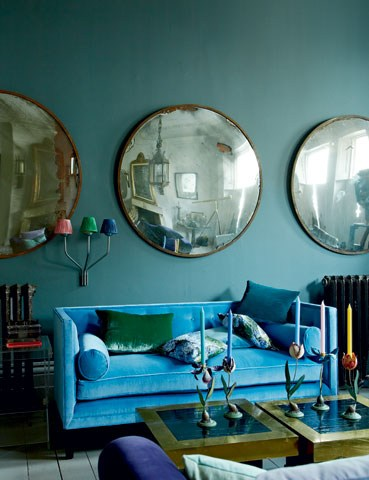 Eclecic interior in Petrol Blue via House and Garden