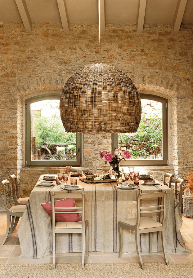 Wonderful wicker lampshade via Greige Design