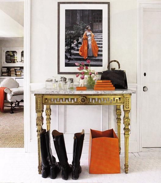 Orange details in a classic home - via Secretly Fancy