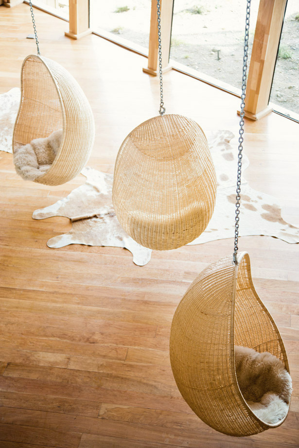 Wicker Hanging Chairs in Hotel Tierra Patagonia via Ann Street Studio