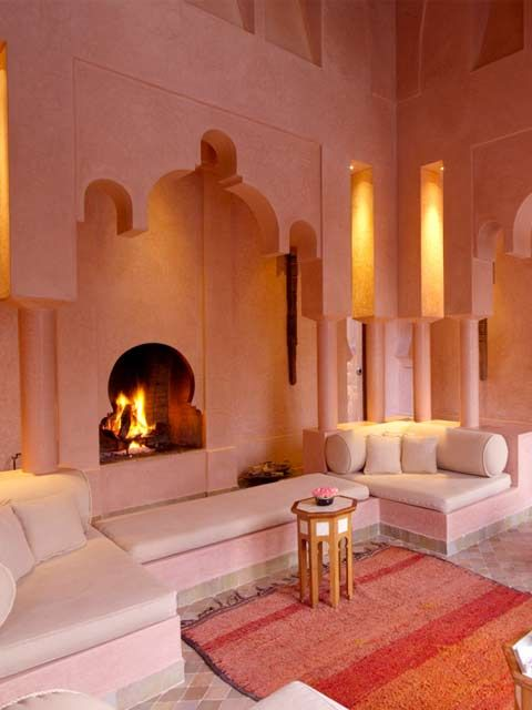 Pink interior with an Eastern touch by designer Tory Burch