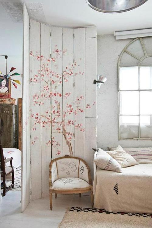 Screen divider with pink blossoms - love the vintage feel - via Not My Beautiful Home