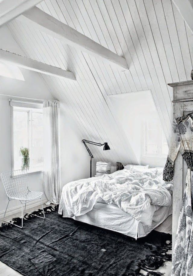 Black and white interiors, monochrome bedroom - via My Scandinavian Home