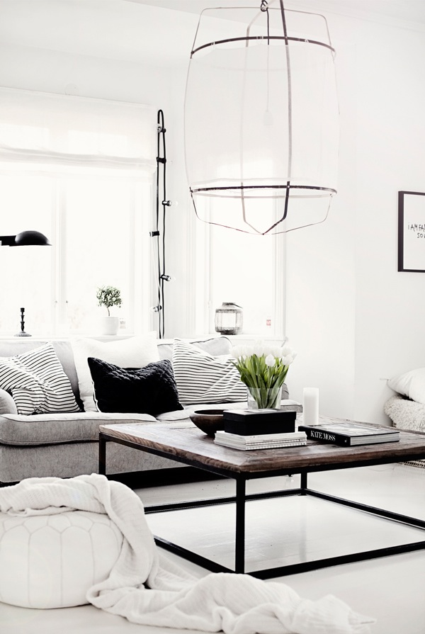 Black and white interiors: Another Koushi lamp in this black and white interior - via Coco and Kelley