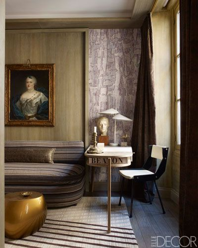 Interior designed by French Jean-Louis Deniot where he combines a vintage Gio Ponti chair with a Jacques Adnet desk and a C. Jere lamp - via Elle Decor