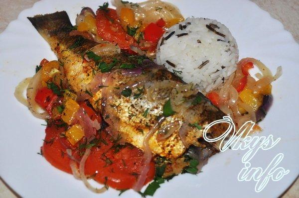 Запеченный сибас в духовке с овощами рецепт с фото