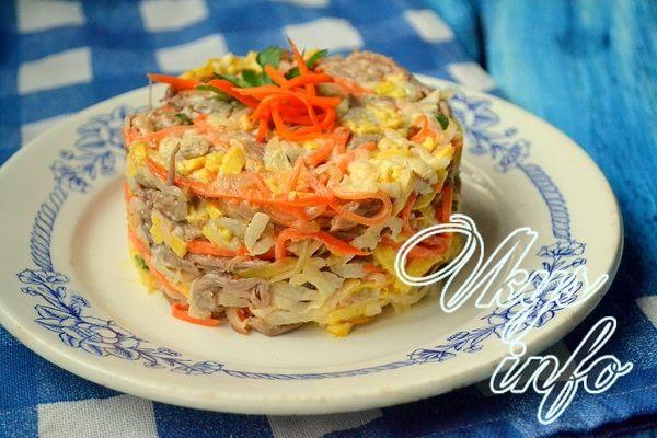 Салат Обжорка с говядиной и корейской морковкой – рецепт с ...