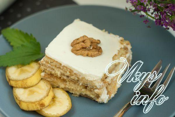 Торт из печенья без выпечки с бананом рецепт с фото