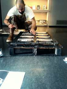 Setting up the exhibition for kino Valli