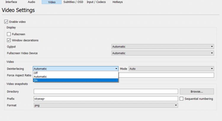 Deinterlacing Videos in VLC Media Player