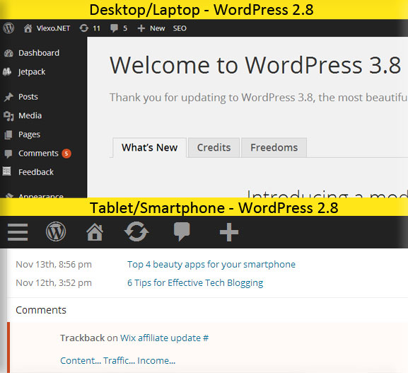 WordPress 3.8 tablet vs desktop What new features does WordPress 3.8 give us?