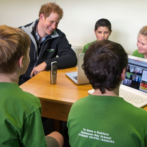 Halfmoon Bay School Stewart Island. Prince Harry visited the only school on the island and meet the pupils and teachers. Harry took part in a German lesson on Skype and then listed tt the school band and choir Picture: Arthur Edwards