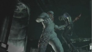 Albert Wesker impaled by Tyrant in Resident Evil