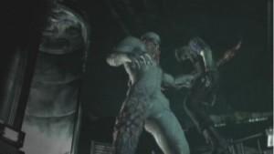 Albert Wesker impaled by Tyrant in Resident Evil