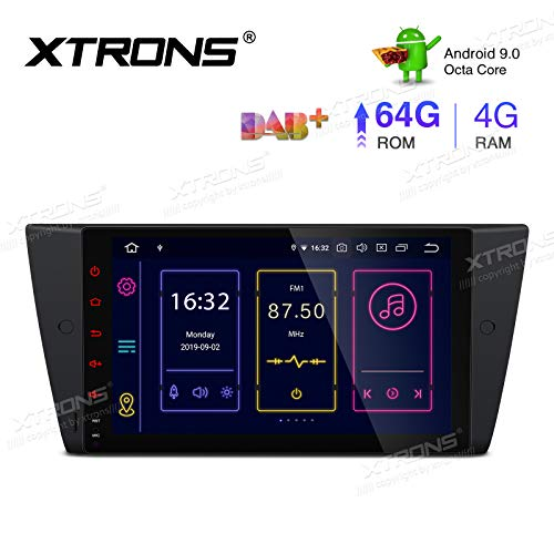 XTRONS 9 Inch Android 9.0 Car Stereo Radio Player Octa Core 4G RAM 64G ROM GPS Navigation Multi-Touch Screen Head Unit Supports Screen Mirroring Bluetooth 5.0 WiFi OBD DVR TPMS for BMW E90/E91/E92 325
