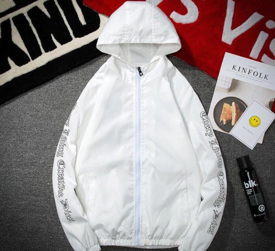 Vlone Hip Hop Windbreaker Bomber Sunscreen White Jacket