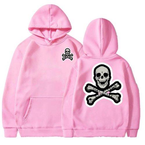 Vlone Skull And Bones Pink Hoodie