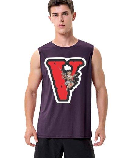 Vlone Angel Friends Purple Sleeveless Shirt