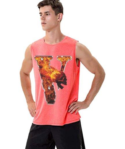Vlone Flaming Skull Baby Pink Sleeveless Shirt