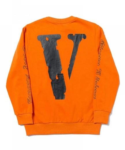 Vlone x OFF-WHITE Printed V Sweatshirt – Orange-Back