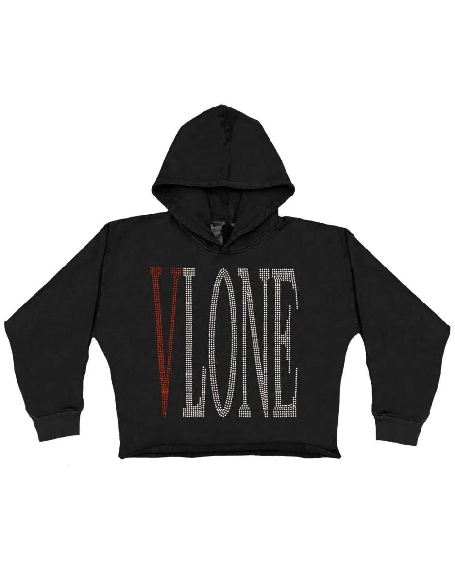 Vlone Staple Red Rhinestone Hoodie – Black (KIDS)-Front