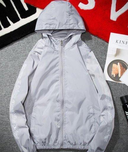 Vlone Hip Hop Windbreaker Bomber Sunscreen Gray Jacket