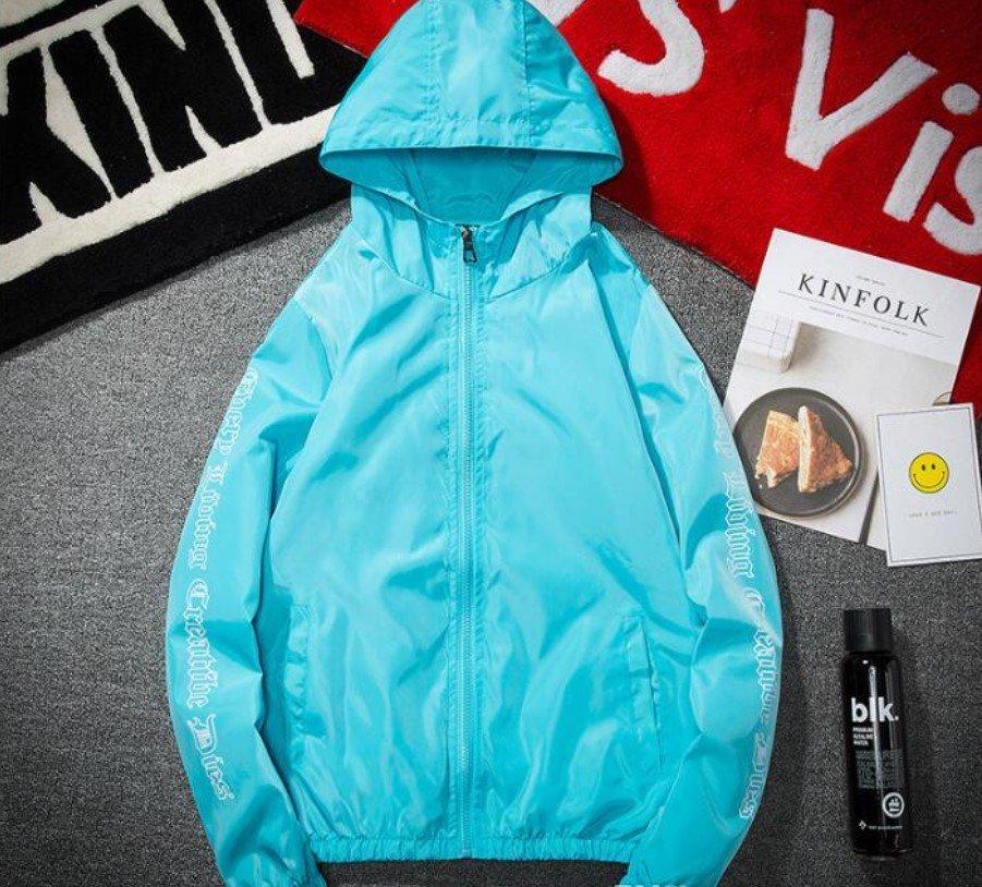Vlone Hip Hop Windbreaker Bomber Sunscreen Sky Blue Jacket