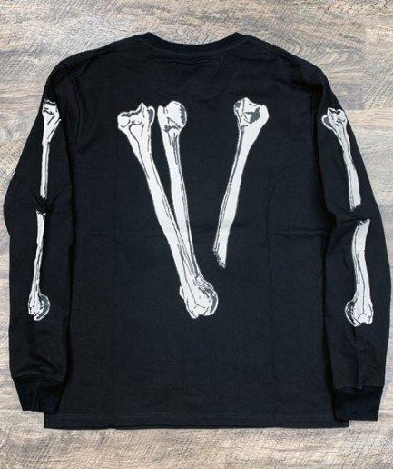 Vlone Skull and Bones Black Long Sleeve Tee
