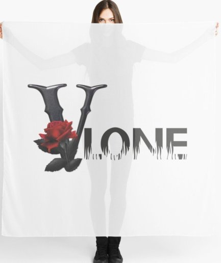 Vlone Rose Flower Printed white Scarf