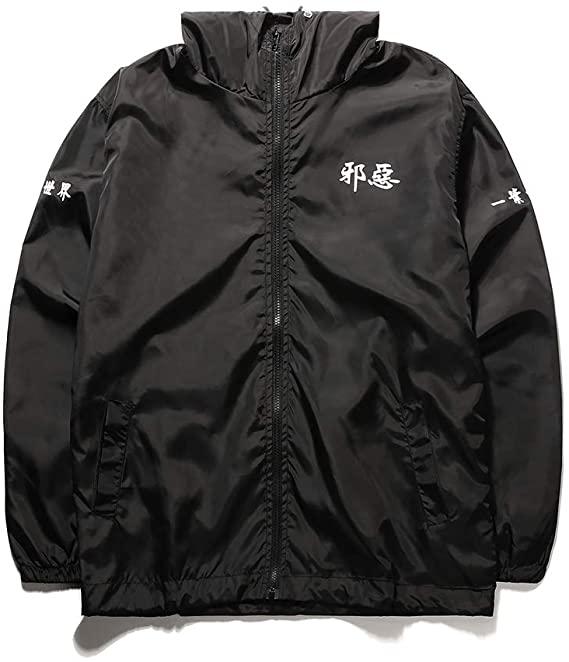 Aitfineism Windbreaker Drawstring Black Hooded Zip Jackets