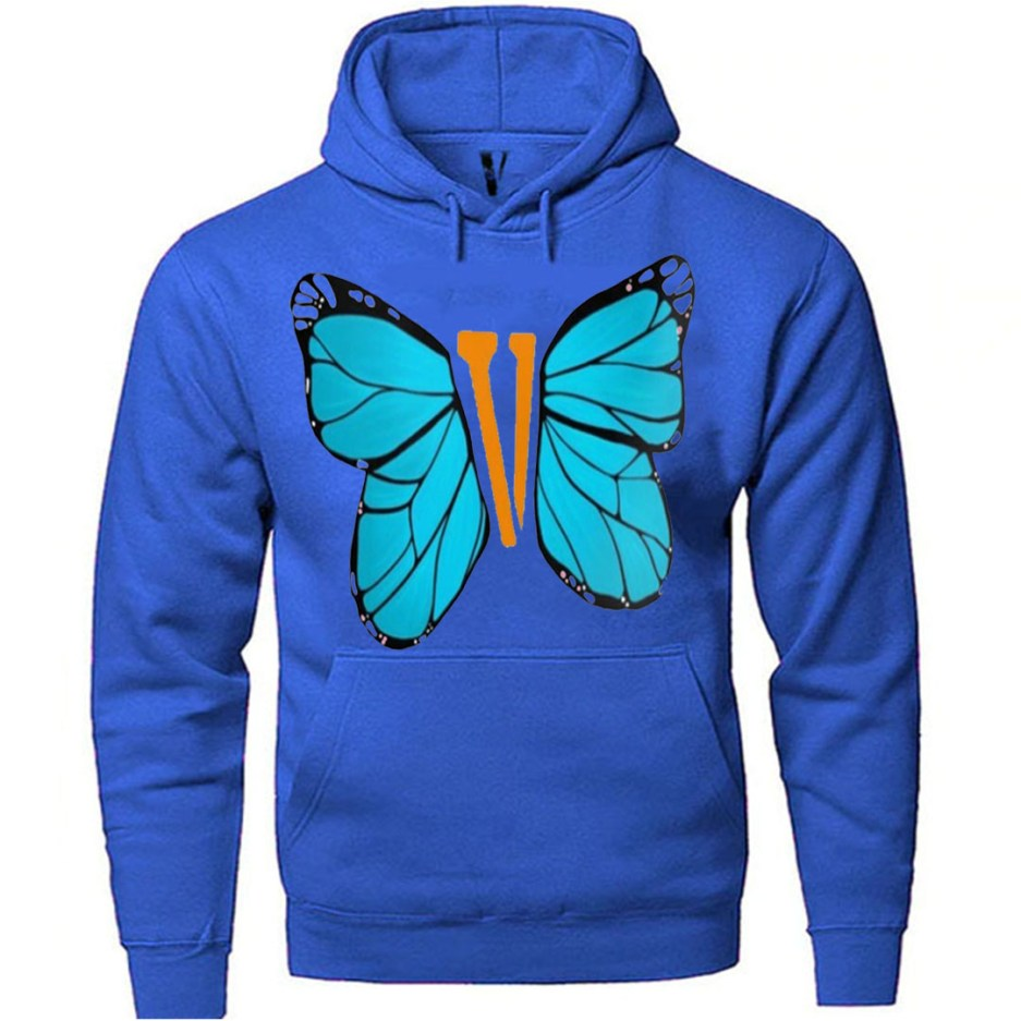 Vlone Blue ButterFly Hoodie Blue