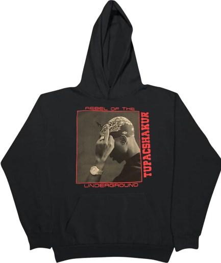 Vlone x Tupac Rebel Of The Underground Hoodie - Black
