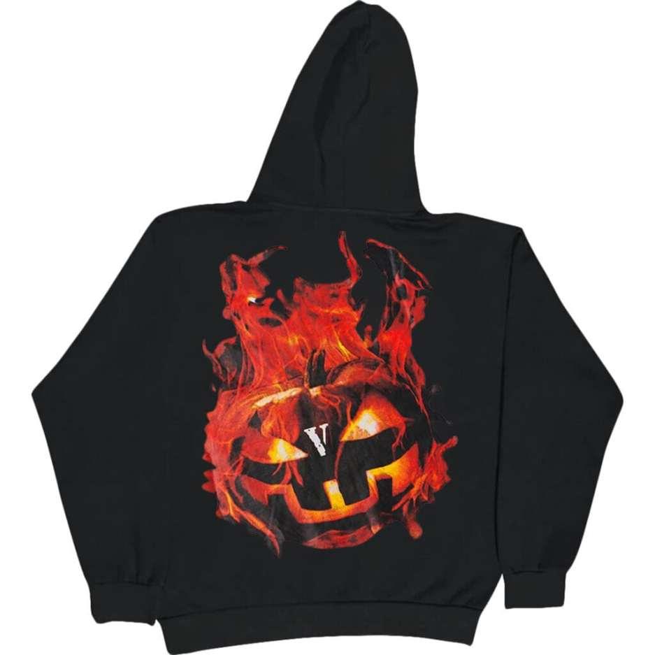 Vlone Halloween Flaming Pumpkin Hoodie–Black-Back