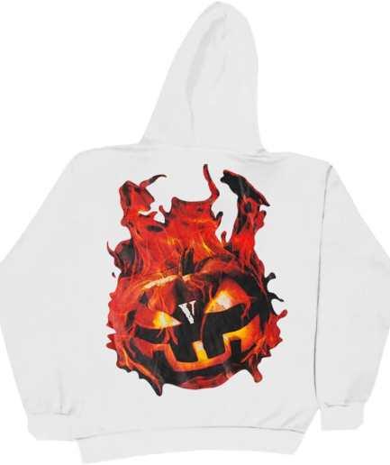 Vlone Halloween Flaming Pumpkin Hoodie–White-Back