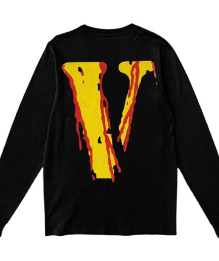 Vlone Blood Smiley Face V Printed Black Sweatshirt – Back