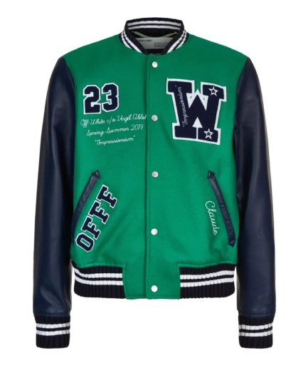 Off-White Eagle Logo Leather Sleeve Varsity Jacket front