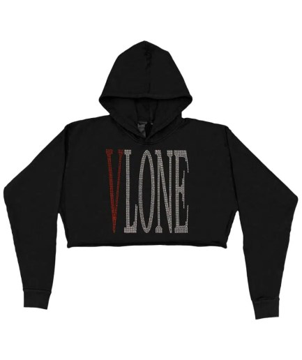 Vlone Staple Red Rhinestone Hoodie – Black (WOMENS)-Front