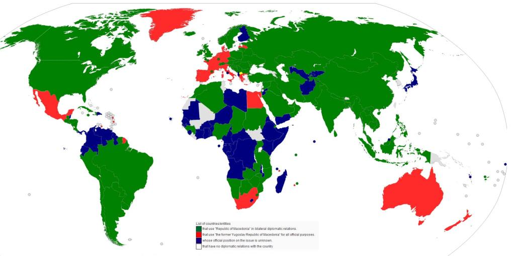World map of countries and their relation to Macedonia.