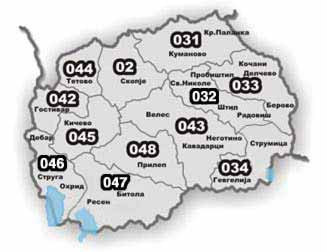 Macedonian area codes.