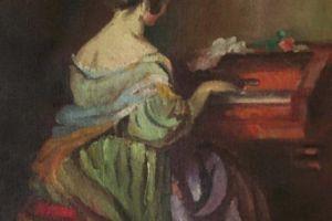 Nikola Martinoski - Girl playing the piano - Девојка крај пиано - c.1920 - c.1924