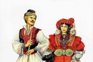 Man's and woman's costumes, Mariovo.