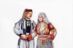 Man's and woman's costumes, Strushki Drimkol.