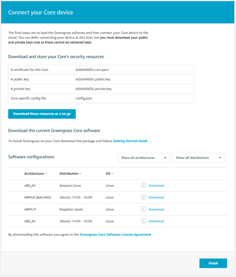 connect your AWS core device