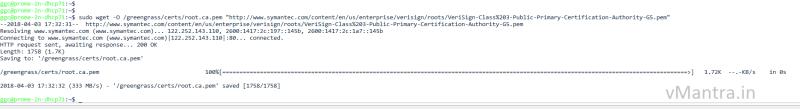 configure aws greengrass on vmware vsphere - verisign cert