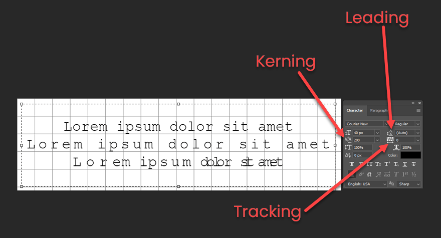 Kerning vs Tracking vs Leading