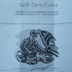 Certificate for one PA State Inspection and PA Emissions Test donated by Tim Deluca's Auto Service & Sales Inc.