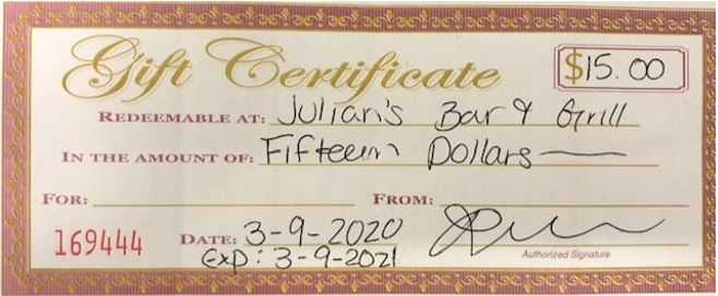 Gift Certificate - Julian's Bar & GrIll