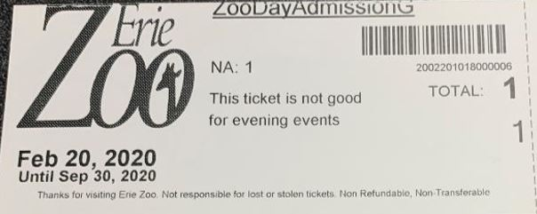 (2) 1 Day Admission Pass To Erie Zoo