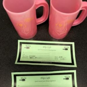 2 $10 Gift Certificate and Plastic Cups