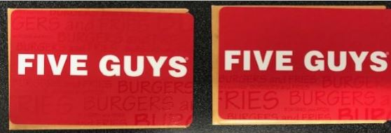 (2) $5 Gift Cards - Five Guys